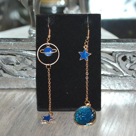 COSMIC Gold Dangling Star, Moon, Planet Earrings